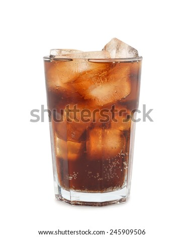 Cola with ice in a glass isolated on white background