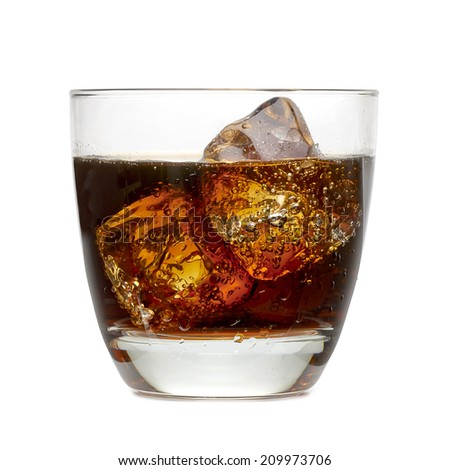 Cola with ice in glass including clipping path - stock photo