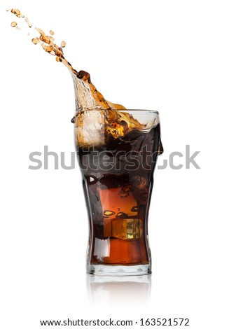 Cola with ice in glass isolated on a white background - stock photo