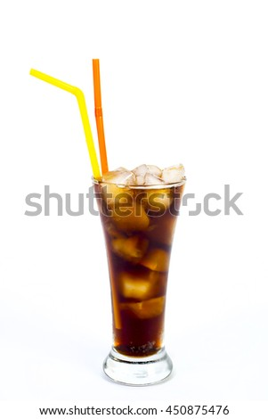 cola with ice on a white background. soft drinks