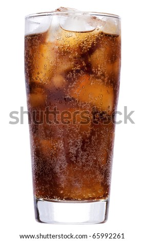 cola with ice on white background - stock photo