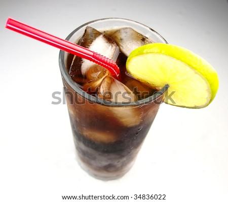 cola with lemon - stock photo