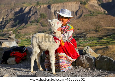 COLCA CANYON, PERU-JANUARY 16: Unidentified girl in traditional dress sits with llama on January 16, 2015 in Colca Canyon, Peru. It is one of the deepest canyons in the world with a depth of 3,270 m.