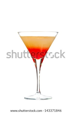 Cold alcoholic cocktail on the white  background - stock photo