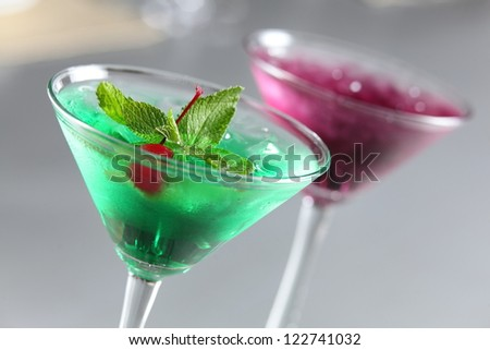 cold and fresh european cocktail with berry - stock photo