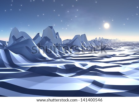 Cold and Icy Fantasy Alien Landscape - Computer Artwork