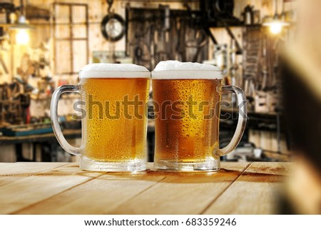 cold beer and workshop background