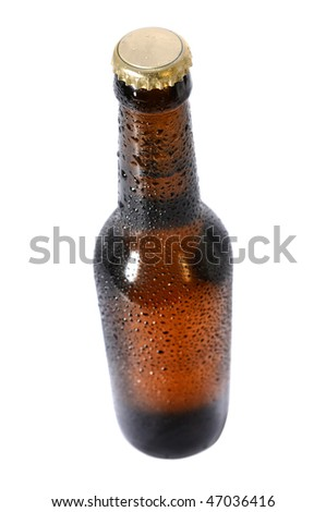 Cold beer bottle in view from above - Selective focus - stock photo