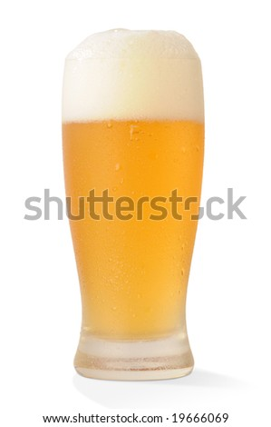 Cold beer glass on white background with path - stock photo