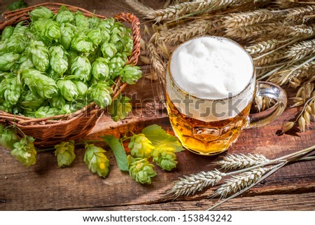 Cold beer made �¢??�¢??of fresh ingredients - stock photo