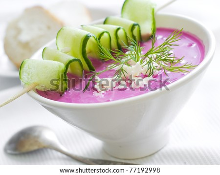 Cold borscht - speciality for hot days. Vegetable cold soup with beetroots. Shallow depth of field, selective focus - stock photo
