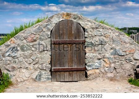 cold cellar with vintage wooden door - stock photo