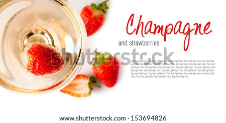 cold champagne with strawberries on a white background, isolated, close-up - stock photo