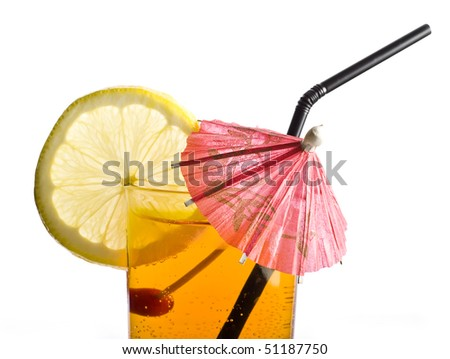 cold cocktail with umbrella - stock photo