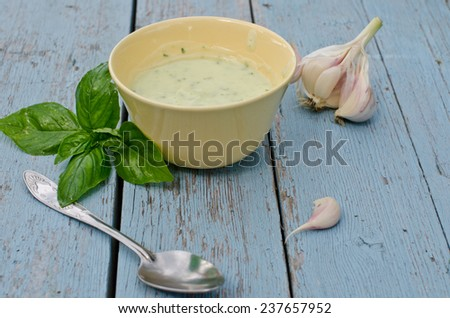 cold cream of zucchini - stock photo