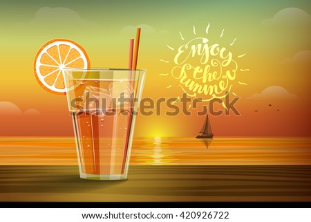 Cold drink with ice and slice of orange on the glass on the sunset background and boat with sails on the horizon. Enjoy the summer lettering on the orange yellow background. - stock photo