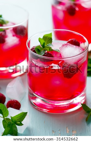 cold drink with raspberry, mint and ice in a glass. style vintage. selective focus
