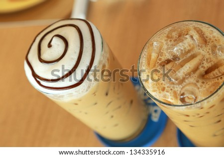 cold fresh ice capuchino coffee - stock photo