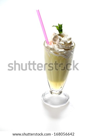 Cold fresh ice coffee with chocolate whit mint - stock photo