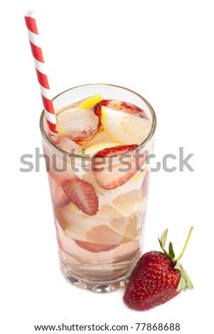 Cold fresh strawberry lemonade on white background - stock photo