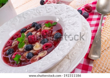 cold fruit soup - stock photo