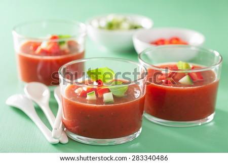 cold gazpacho soup in glass - stock photo