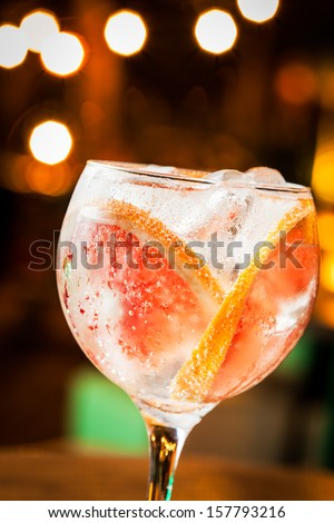 Cold Gin Tonic ready to drink. - stock photo