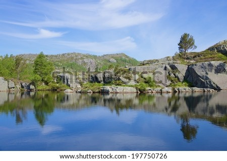Cold glacier lake along the hiking trail to Preikestolen - or pulpit rock, Norway - stock photo