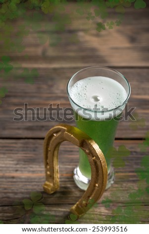 Cold green beer for st.Patrick's day holiday celebration - stock photo