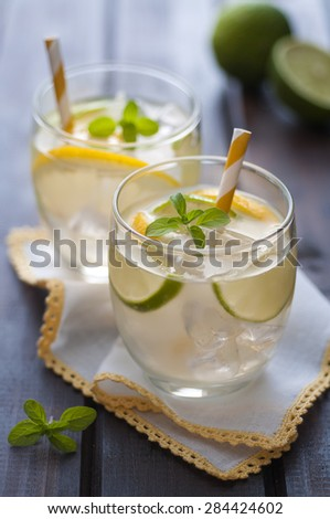 Cold homemade lemonade, decorated with fresh mint - stock photo