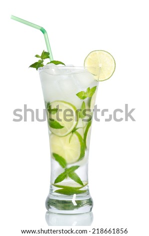 cold iced lemonade with lemons and mint - stock photo