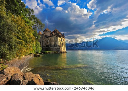 Cold  lake in the mountains. Lake Geneva in the fall on a sunny day. Montreux, Switzerland - stock photo