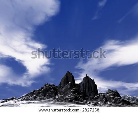 cold mountain , ground level - stock photo
