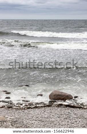 Cold Nordic sea. Coastline of Gotland, Sweden. - stock photo