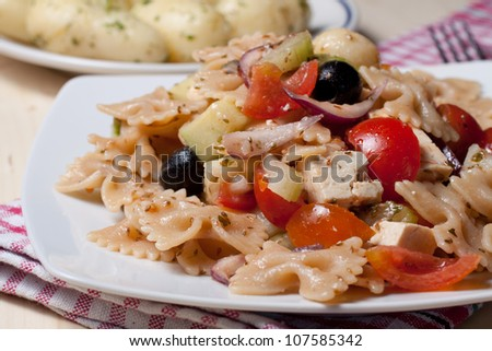 cold pasta salad with vegetables and tofu - stock photo