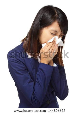 Cold sneezing asian business woman