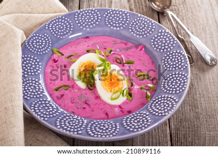 Cold soup with beetroot, eggs and kefir - stock photo