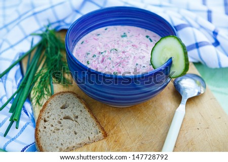 Cold soup with beetroots and cucumber. Traditional food in Russia, called borscht