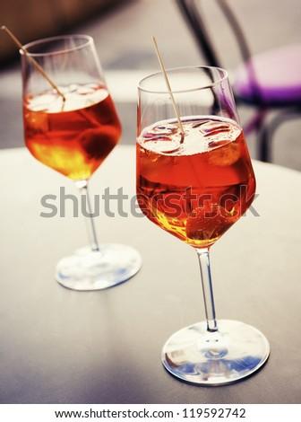 Cold spritzer drink - tasty refreshment - stock photo