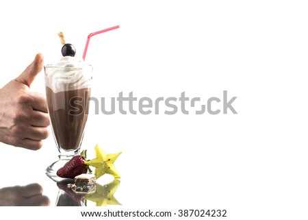 cold summer frappucino, with whipped cream on bright background - stock photo