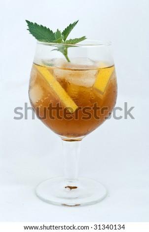 cold tea with lemon - stock photo
