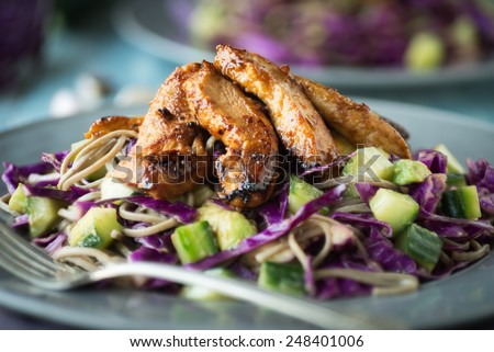 Cold Thai Chicken Cabbage Salad with Soba - stock photo
