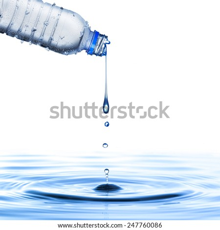 Cold Water Bottle Pour Water - stock photo