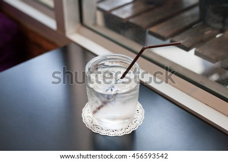 Cold water with iced cube in glass,ready to serve , selective focus point. - stock photo