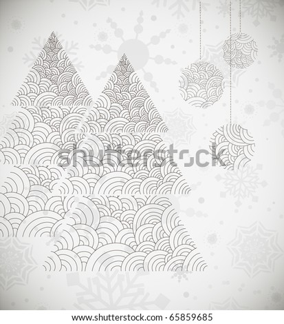Cold Winter Christmas Background with Abstract Christmas Tree - stock photo