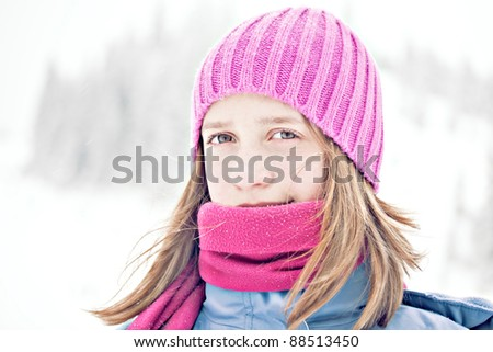 cold winter snow outdoor portrait of girl