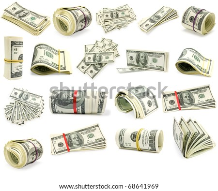 Colection dollars isolated on white background