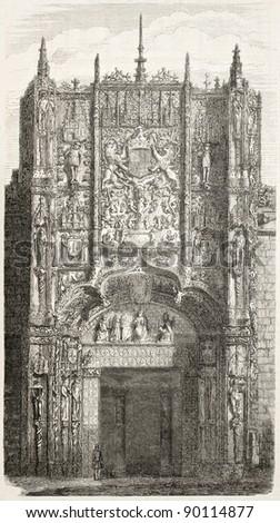 Colegio de San Gregorio portal, Valladolid. Created by Marc,  published on L'Illustration, Journal Universel, Paris, 1858 - stock photo
