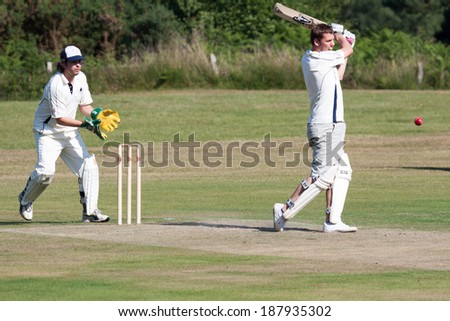 COLEMAN'S HATCH, SUSSEX/UK - JUNE 27 :Village cricket being played at Coleman's Hatch in Sussex on june 27, 2009. Unidentified people.