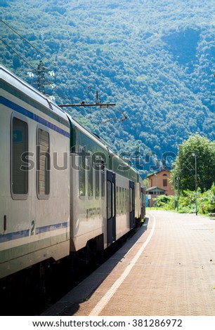 Colico, Italy - September 8th, 2015: a Trenord train ready to deaprt from Colico, a town in the northern part of Lake Como